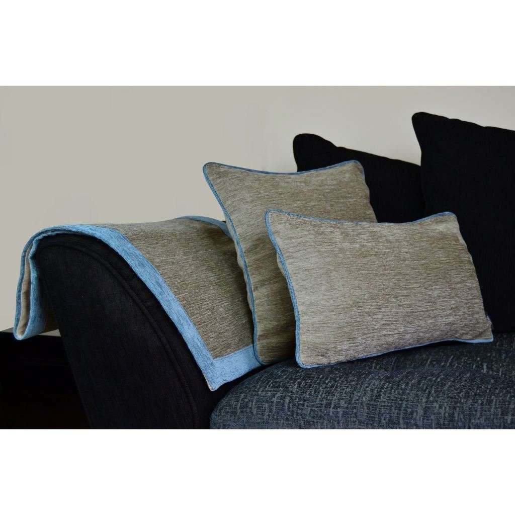McAlister Textiles Alston Chenille Beige + Blue Throw Throws and Runners