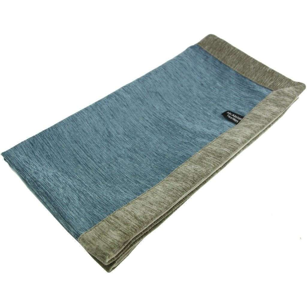 McAlister Textiles Alston Chenille Blue + Beige Throws & Runners Throws and Runners Regular (130cm x 200cm)