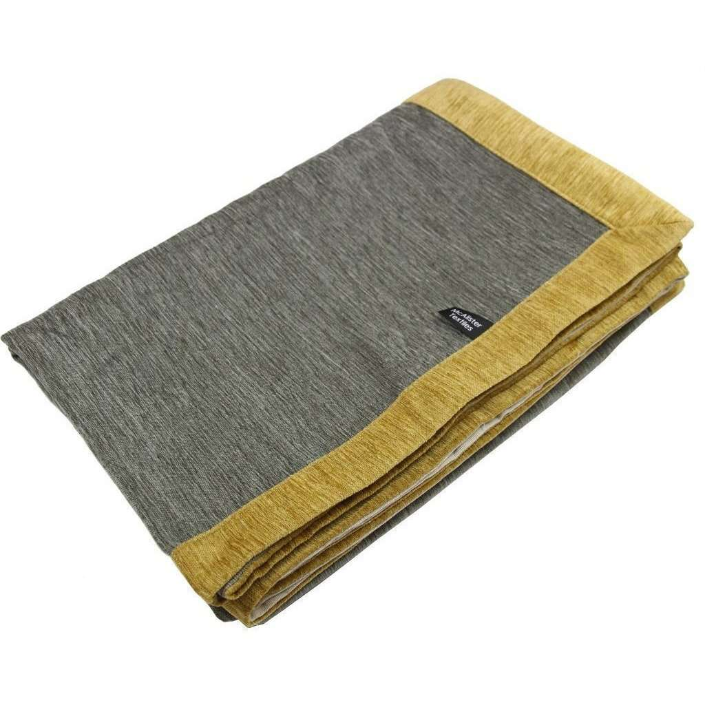McAlister Textiles Alston Chenille Grey + Yellow Throw Throws and Runners Regular (130cm x 200cm)