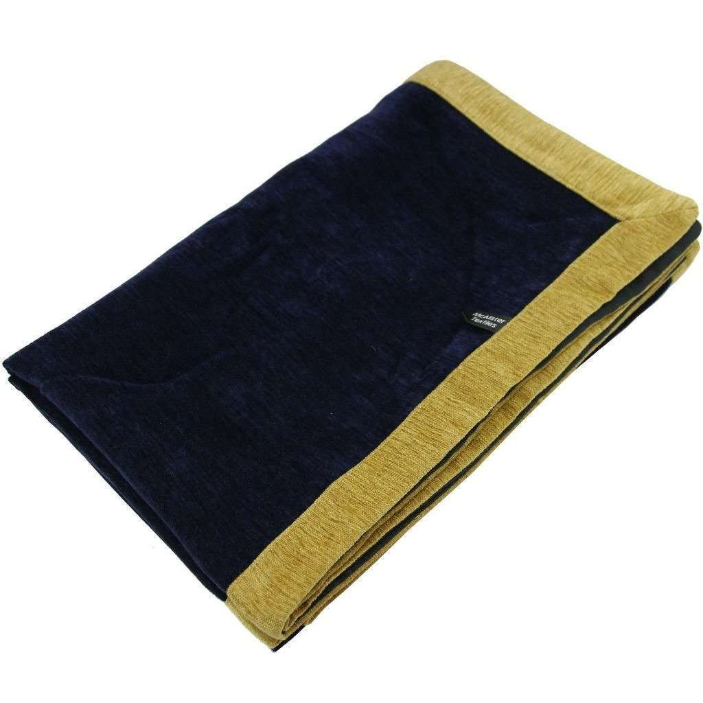 McAlister Textiles Alston Chenille Navy Blue + Yellow Throw Throws and Runners Regular (130cm x 200cm)