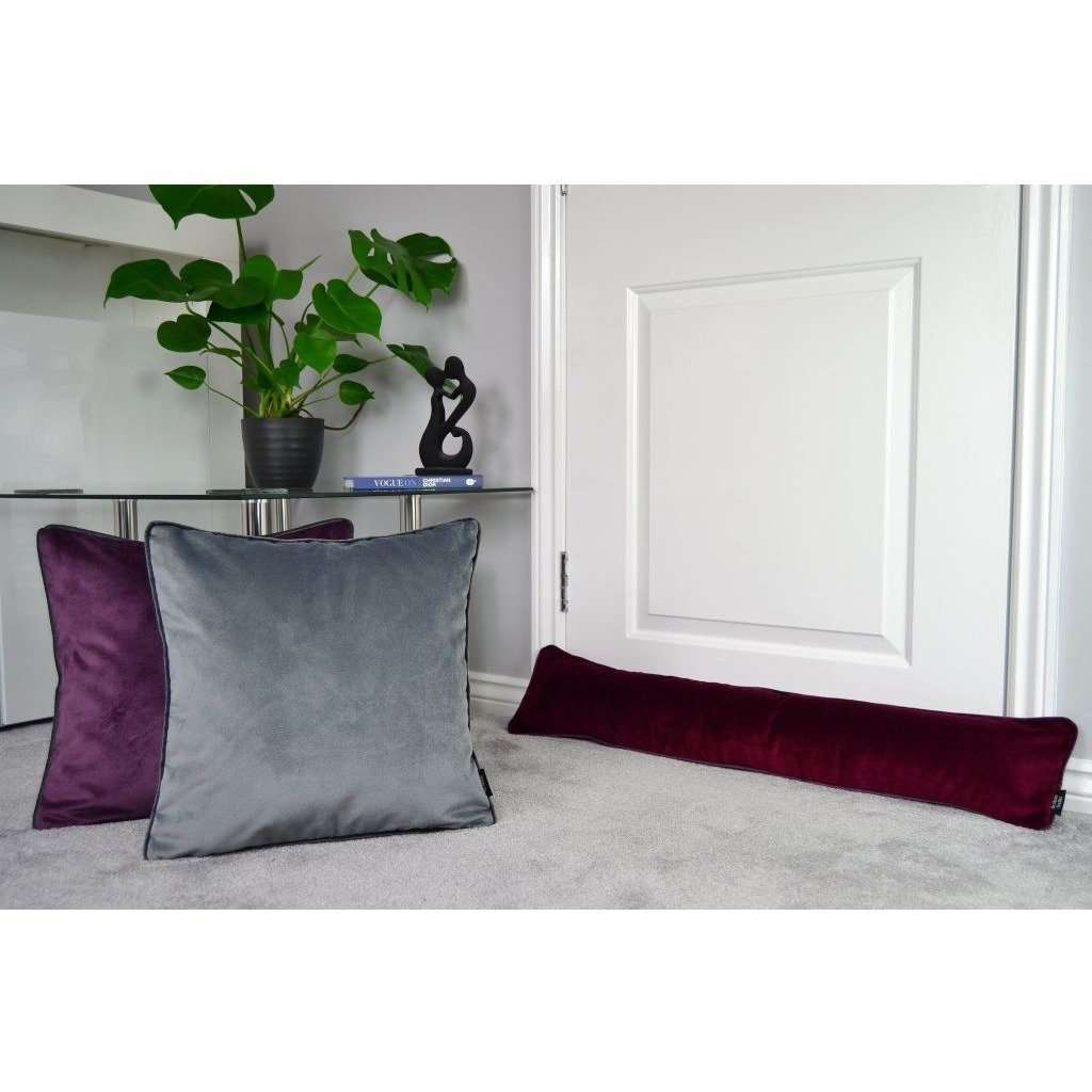 McAlister Textiles Matt Wine Red Velvet Draught Excluder Draught Excluders