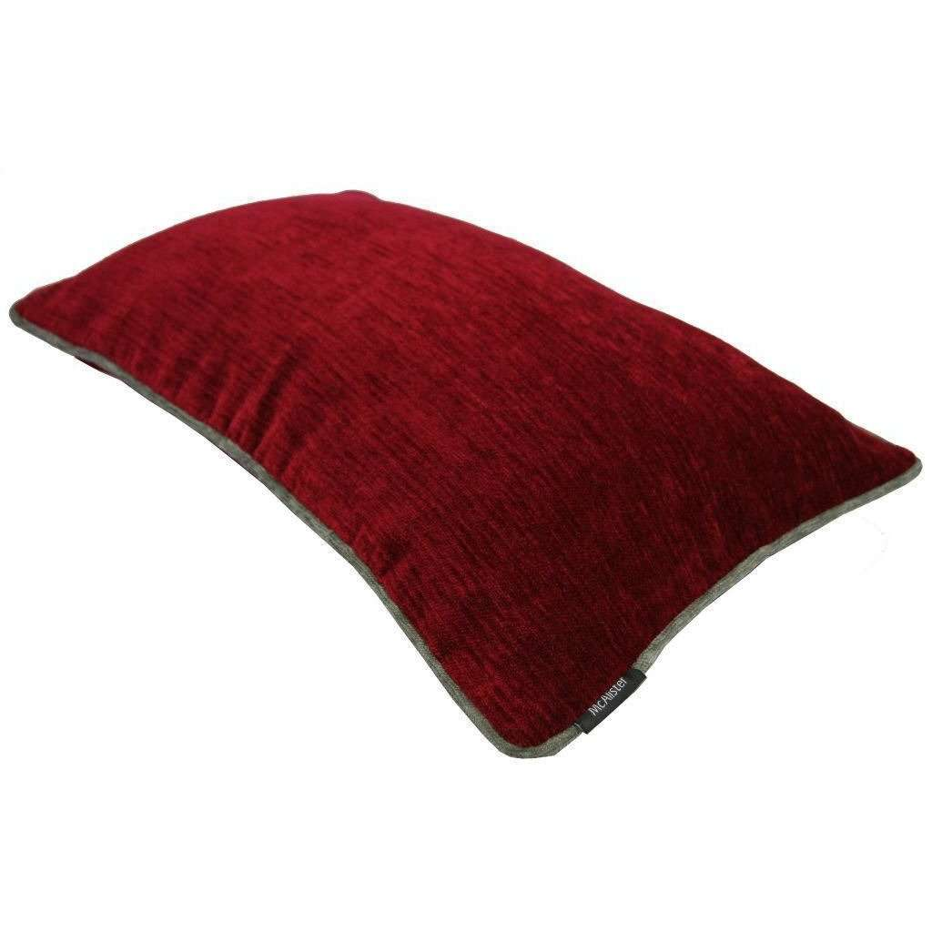 McAlister Textiles Alston Chenille Red + Grey Cushion Cushions and Covers