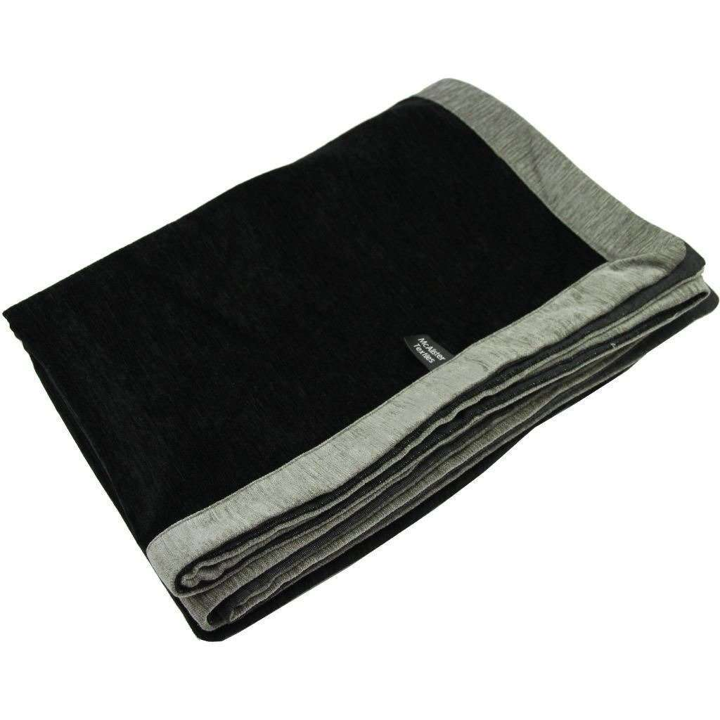 McAlister Textiles Alston Chenille Black + Grey Throw Throws and Runners Regular (130cm x 200cm)