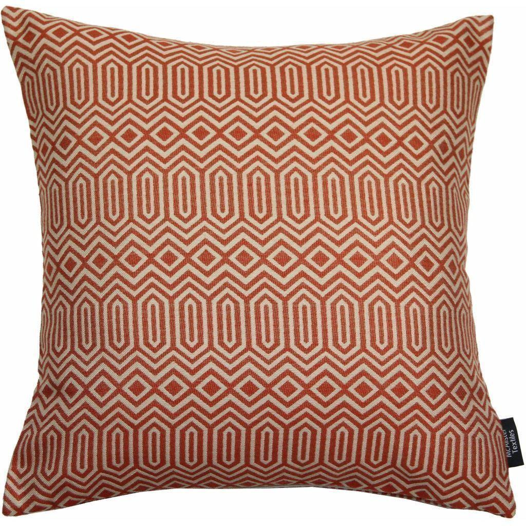 McAlister Textiles Colorado Geometric Terracotta Orange Cushion Cushions and Covers Cover Only 43cm x 43cm