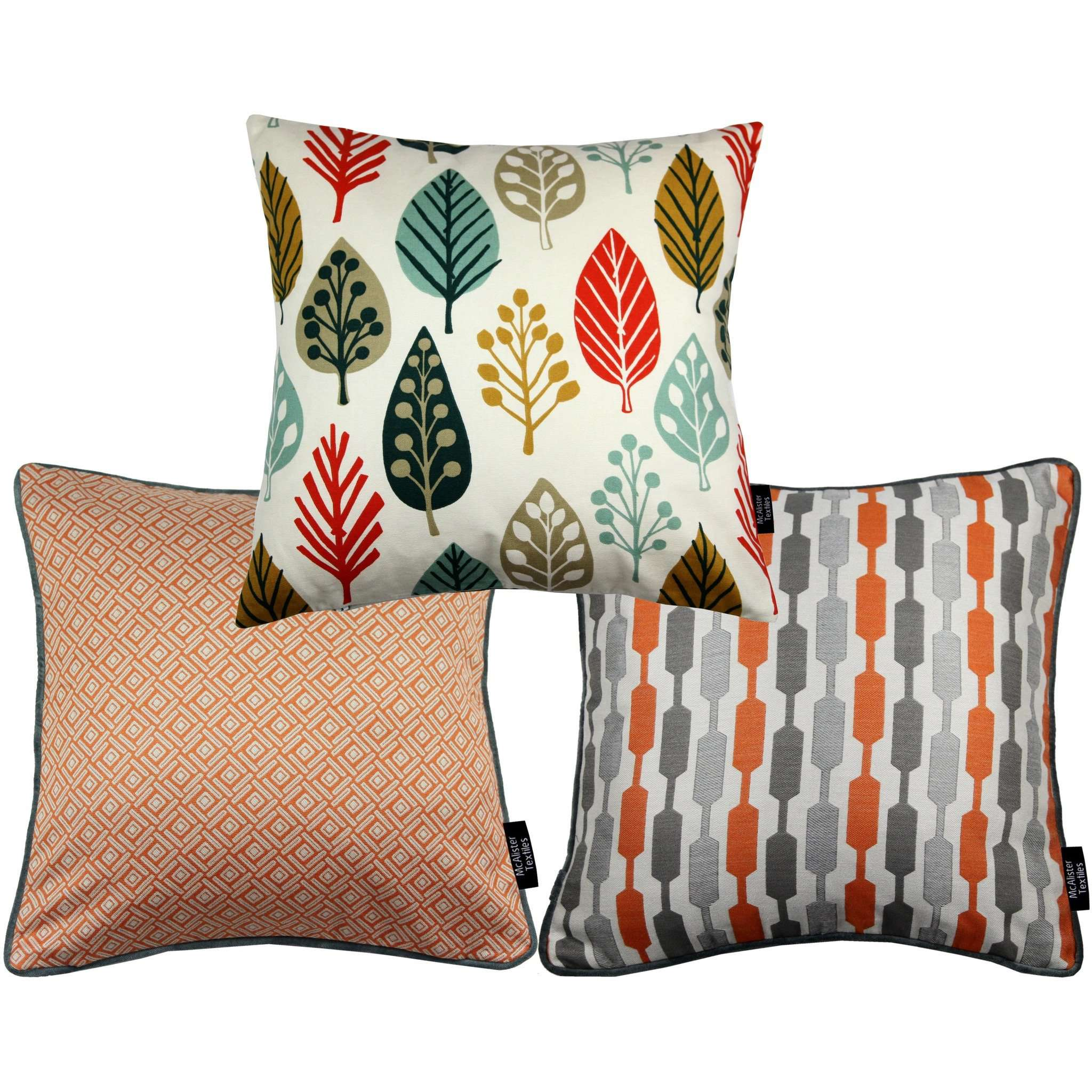 McAlister Textiles Copenhagen Burnt Orange 43cm x 43cm Cushion Set of 3 Cushions and Covers Cushion Cover