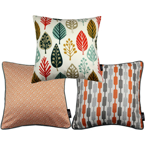 McAlister Textiles Copenhagen Funky Cushion Set of 3 - Burnt Orange-Cushions and Covers-