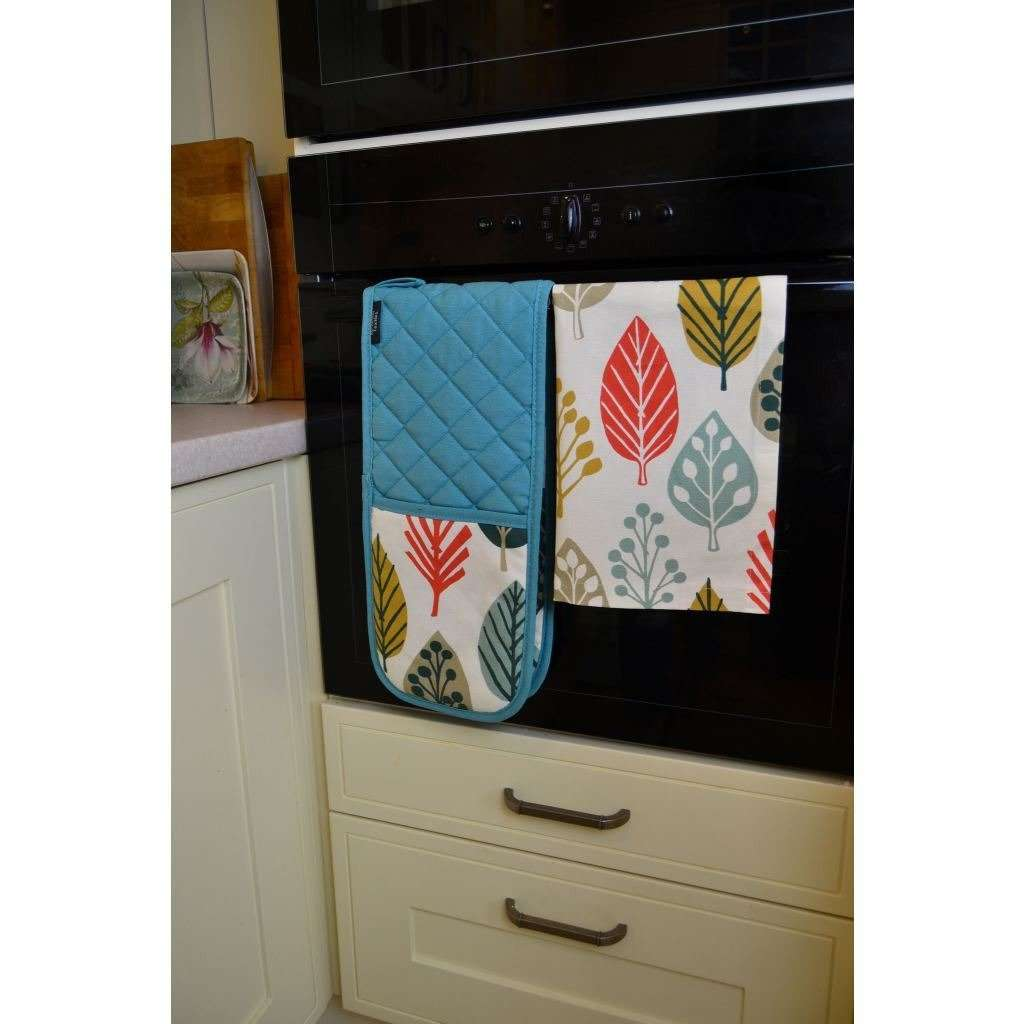 McAlister Textiles Magda Burnt Orange Cotton Print Double Oven Mitts Kitchen Accessories