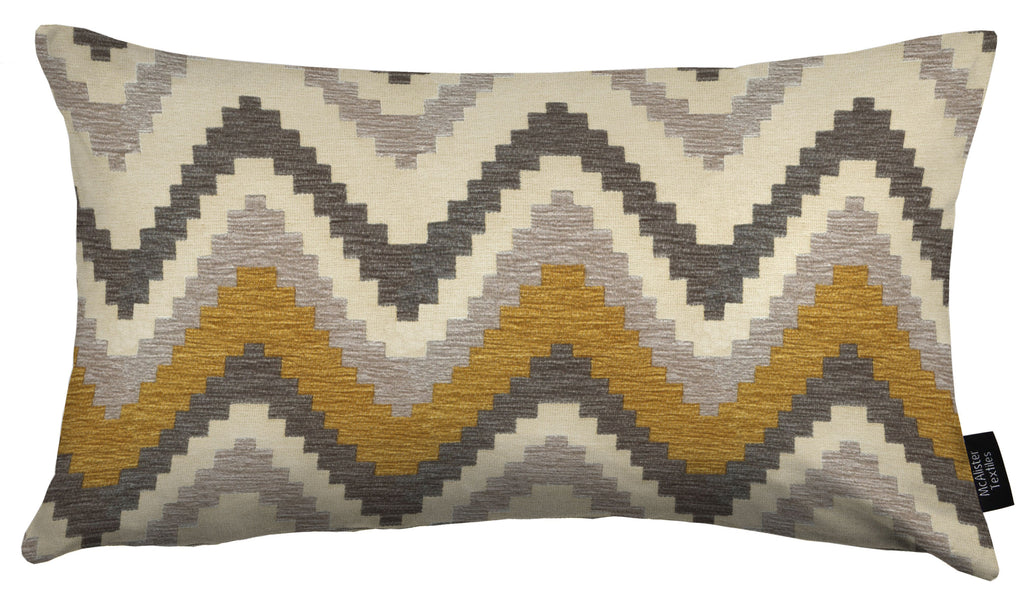McAlister Textiles Navajo Yellow + Grey Striped Cushion Cushions and Covers Cover Only 50cm x 30cm