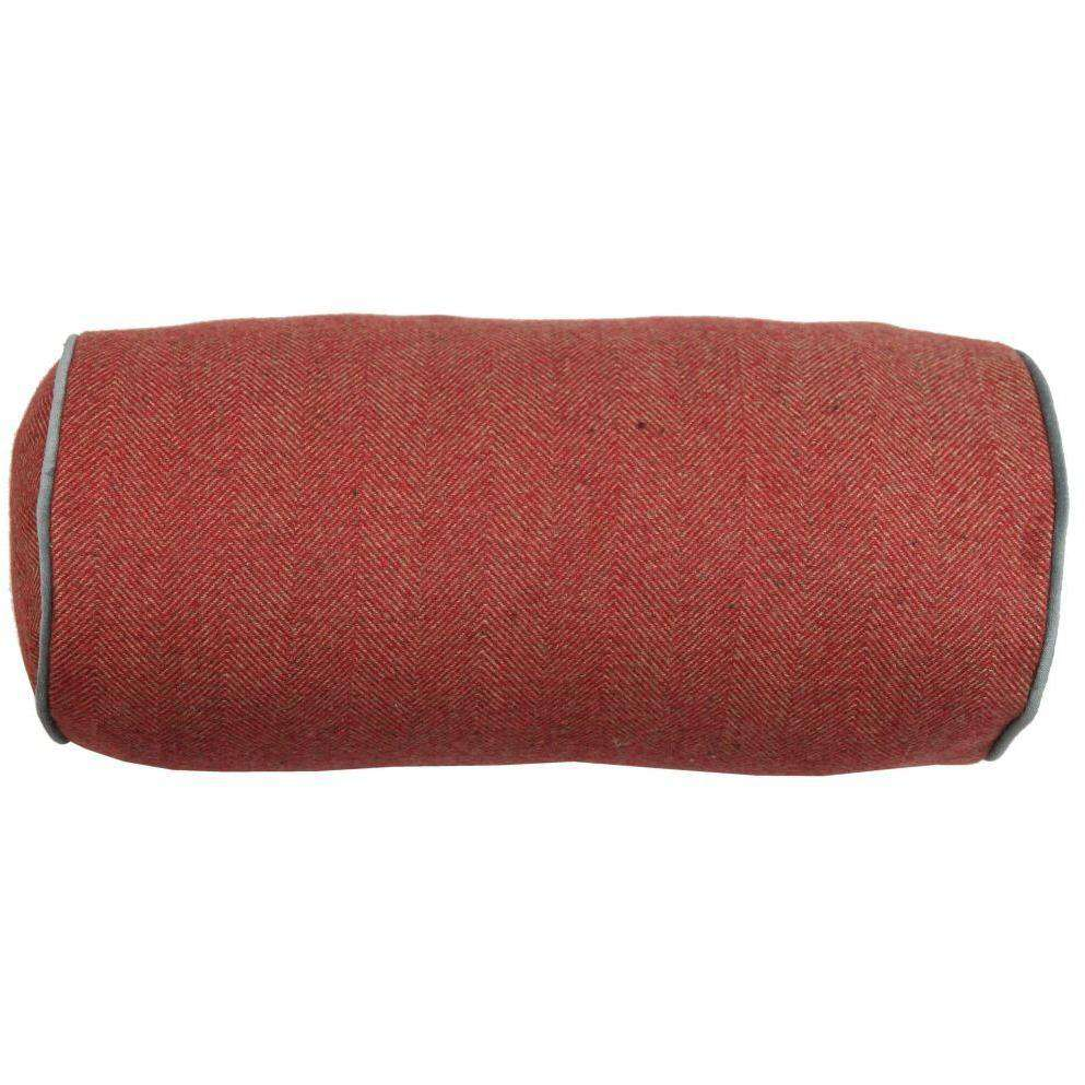McAlister Textiles Boutique Deluxe Herringbone Bolster Pillow | Red and Charcoal Grey-Bolster Cushion-