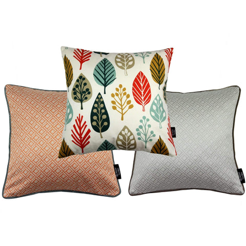 McAlister Textiles Magda + Elva Cushion Set of 3 - Burnt Orange + Grey-Cushions and Covers-