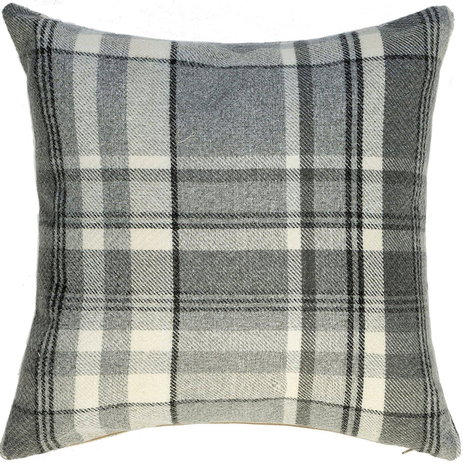 McAlister Textiles Heritage Charcoal Grey Tartan Pillow Pillow Cover Only 43cm x 43cm