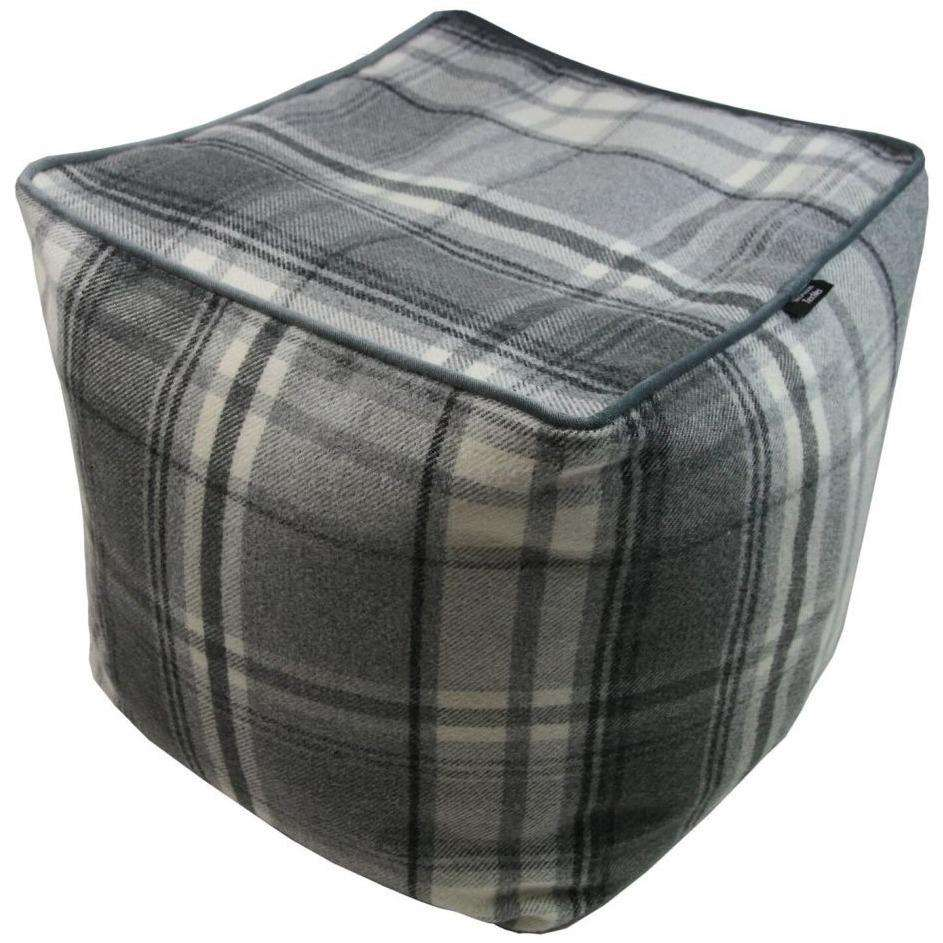 McAlister Textiles Deluxe Tartan Charcoal Grey Cube Seat Stool Square Stool