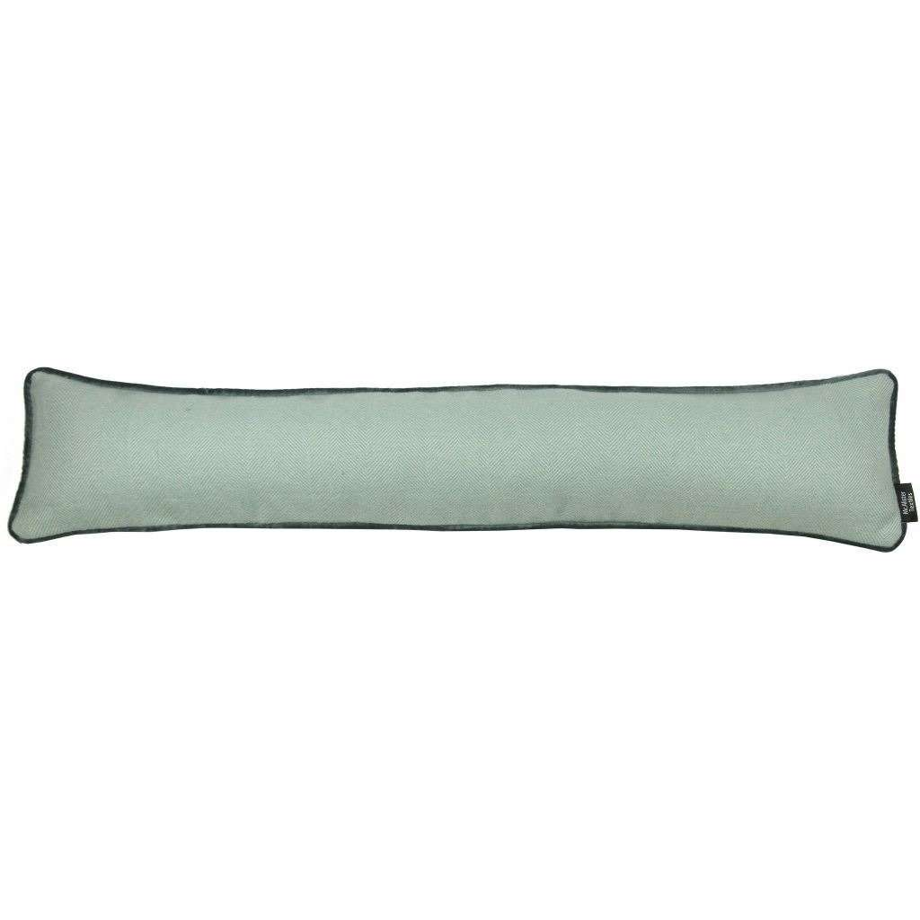 McAlister Textiles Herringbone Boutique Wool Feel Duck Egg Blue & Grey Fabric Draught Excluder-Doorstops-