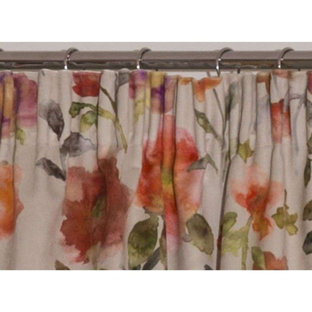 McAlister Textiles Renoir Floral Orange Velvet Curtains Tailored Curtains
