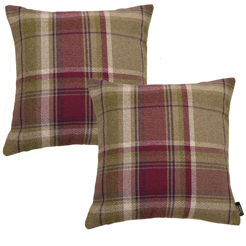 McAlister Textiles Heritage Purple + Green Tartan 43cm x 43cm Cushion Sets Cushions and Covers Cushion Covers Set of 2