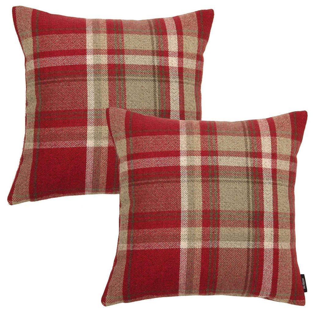 McAlister Textiles Heritage Red + White Tartan 43cm x 43cm Cushion Sets Cushions and Covers Cushion Covers Set of 2