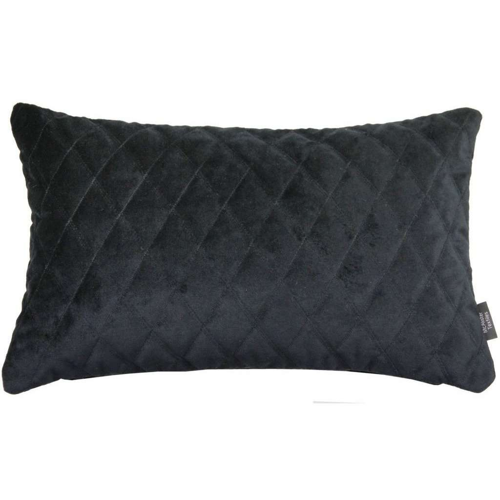 McAlister Textiles Diamond Quilted Velvet Black Boudoir Pillow-Cushions and Covers-
