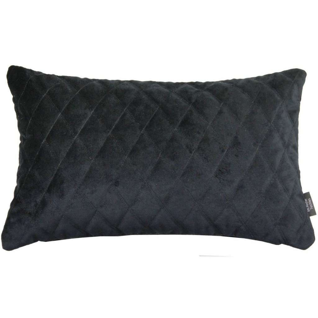 McAlister Textiles Diamond Quilted Black Velvet Cushion Cushions and Covers Cover Only 50cm x 30cm