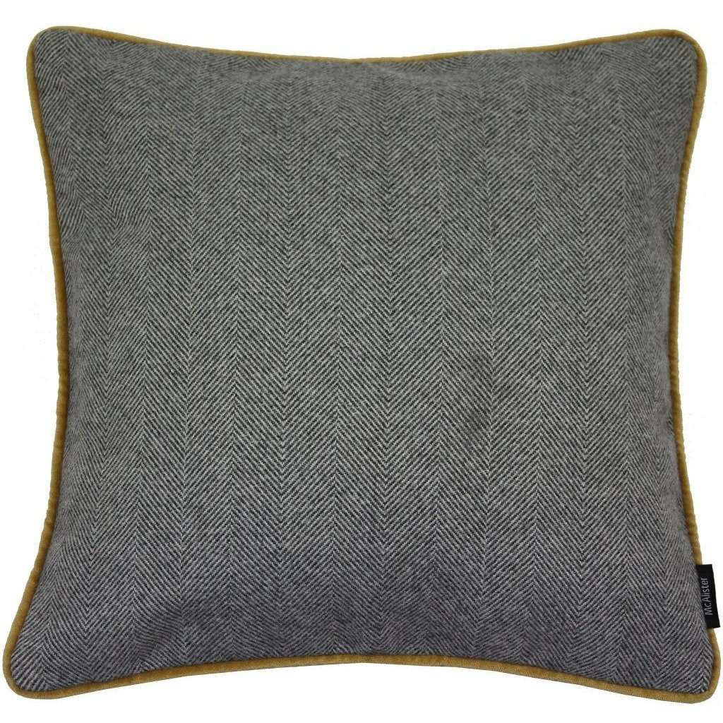 McAlister Textiles Herringbone Boutique Grey + Yellow Cushion Cushions and Covers Cover Only 43cm x 43cm