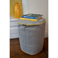 McAlister Textiles Boutique Deluxe Round Herringbone Footstool | Charcoal Grey and Ochre-Round Stool-