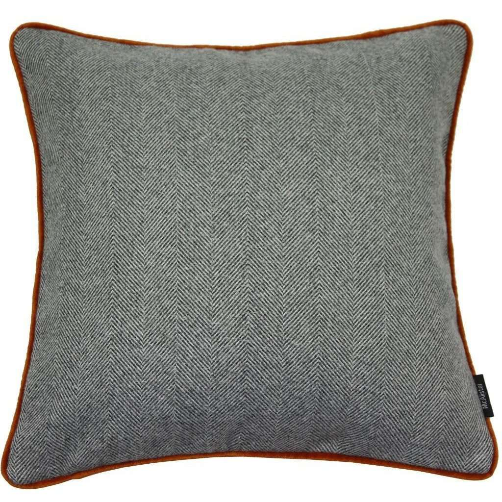 McAlister Textiles Herringbone Boutique Grey + Orange Cushion Cushions and Covers Cover Only 43cm x 43cm