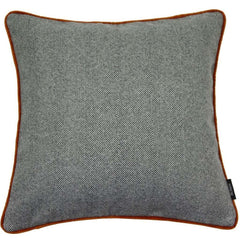 McAlister Textiles Herringbone Boutique Wool Feel Charcoal with Orange Cushions-Cushions and Covers-