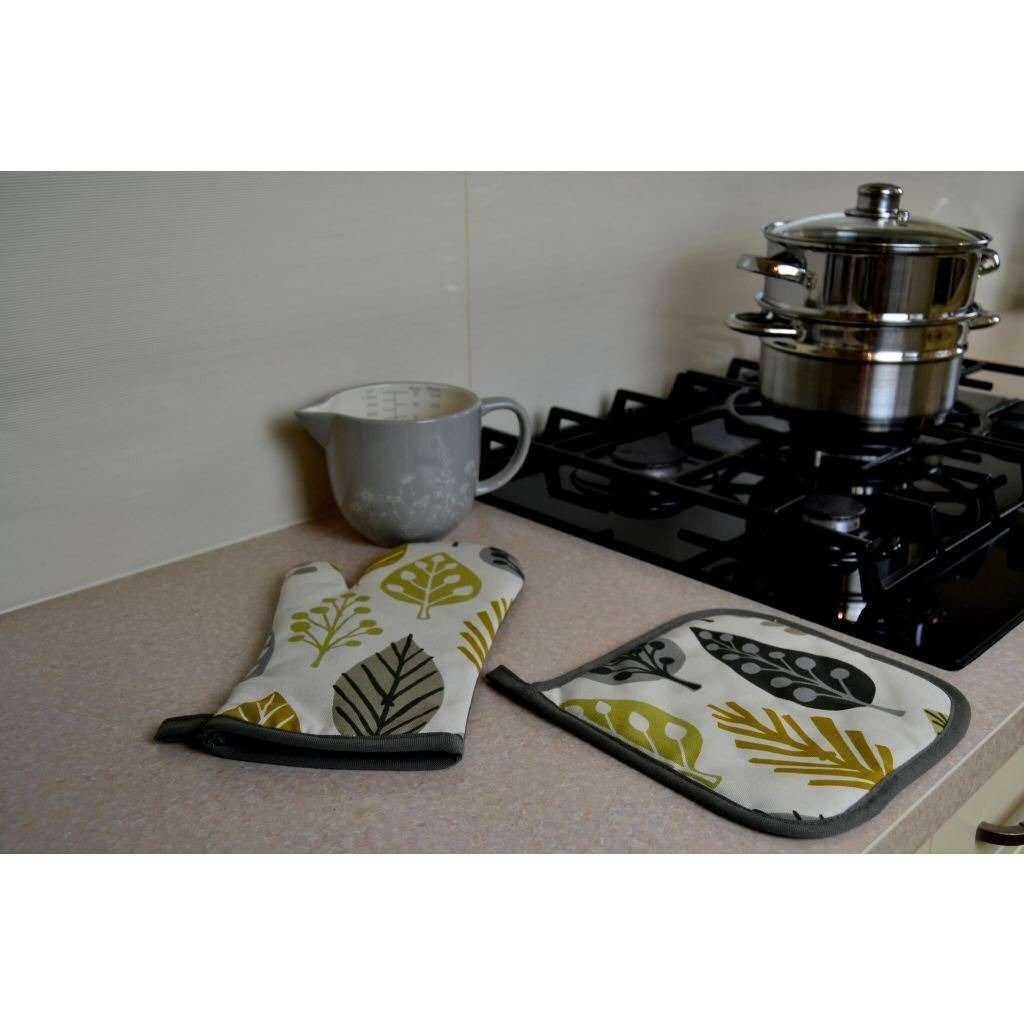 McAlister Textiles Magda Yellow Cotton Print Oven Mitt Kitchen Accessories