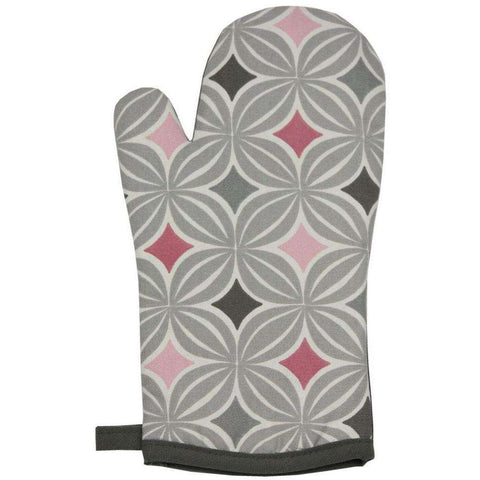 Mcalister Textiles Laila Geometric Blush Pink Oven Glove Mitts Kitchen Accessories