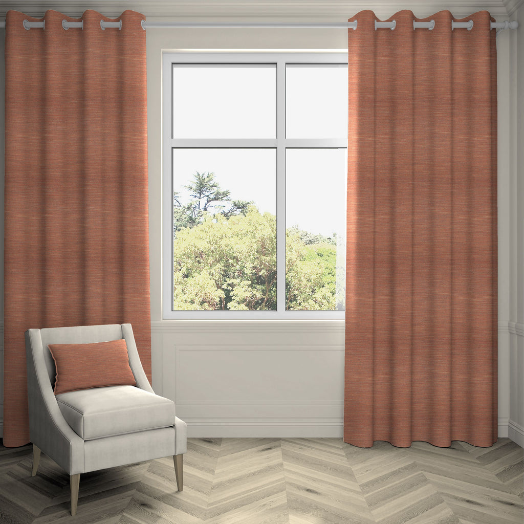 "McAlister Textiles Hamleton Terracotta Textured Plain Curtains Tailored Curtains 116cm(w) x 137cm(d) (46"" x 54"")"