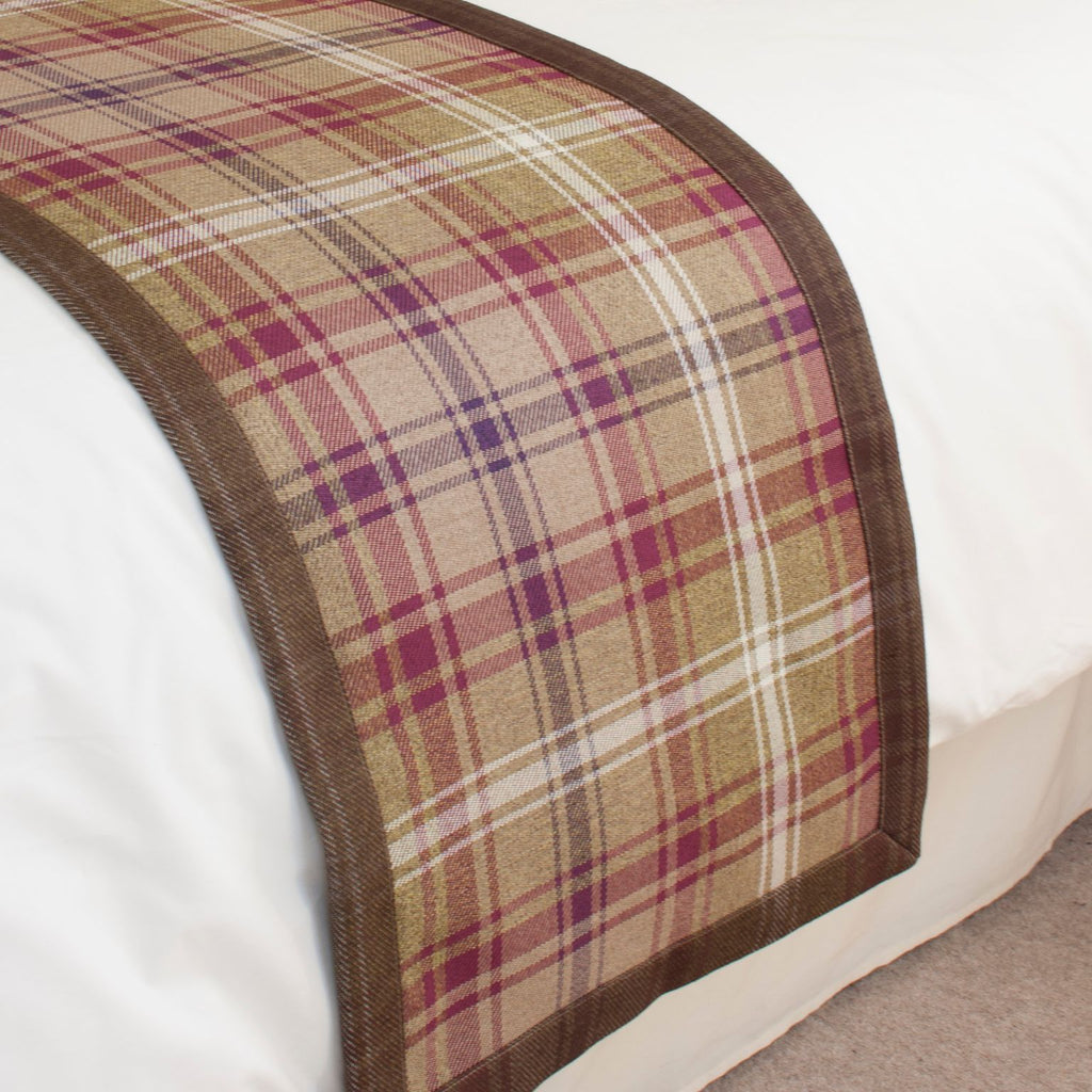 McAlister Textiles Angus Purple + Green Tartan Throws & Runners Throws and Runners Bed Runner (50cm x 240cm)