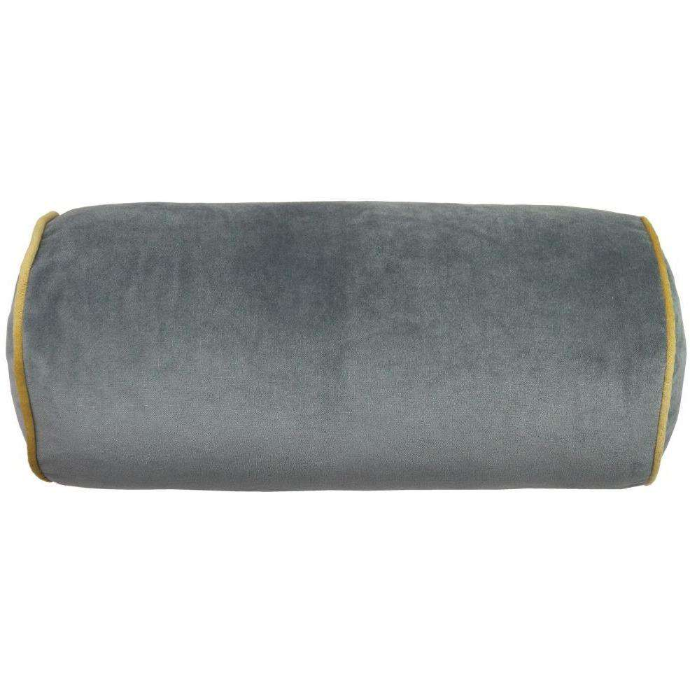 McAlister Textiles Boutique Deluxe Matt Velvet Bolster Pillow | Charcoal Grey and Ochre-Bolster Cushion-