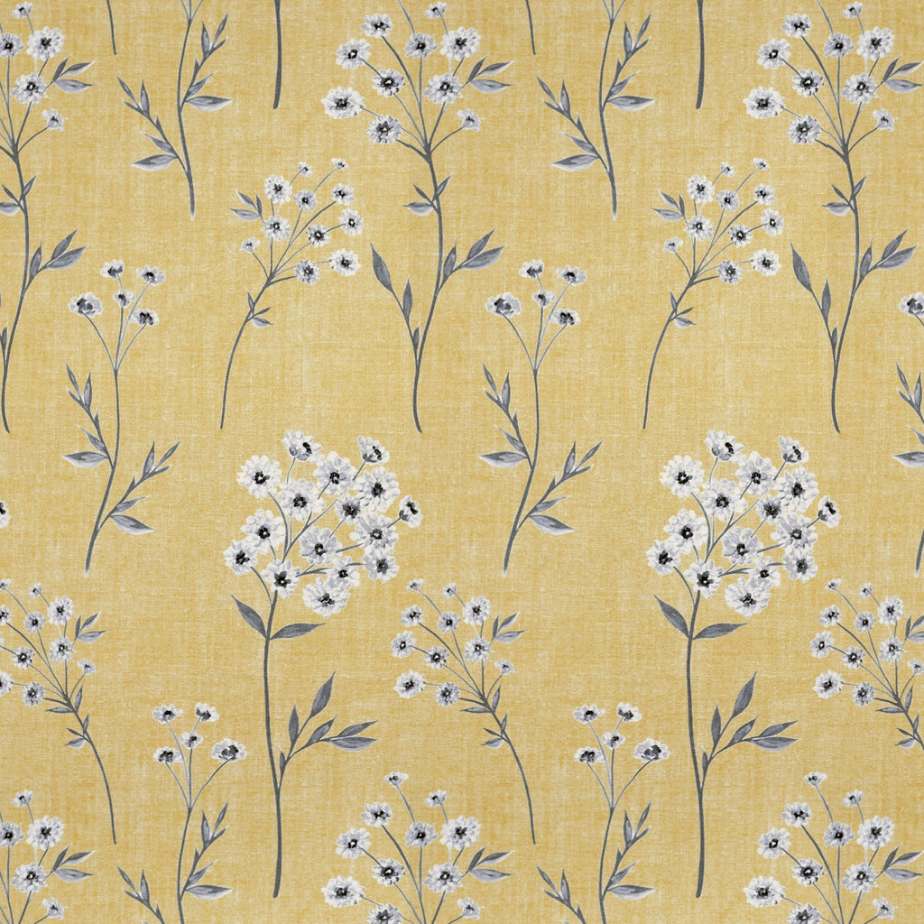McAlister Textiles Meadow Yellow Floral FR Fabric Fabrics 1/2 Metre