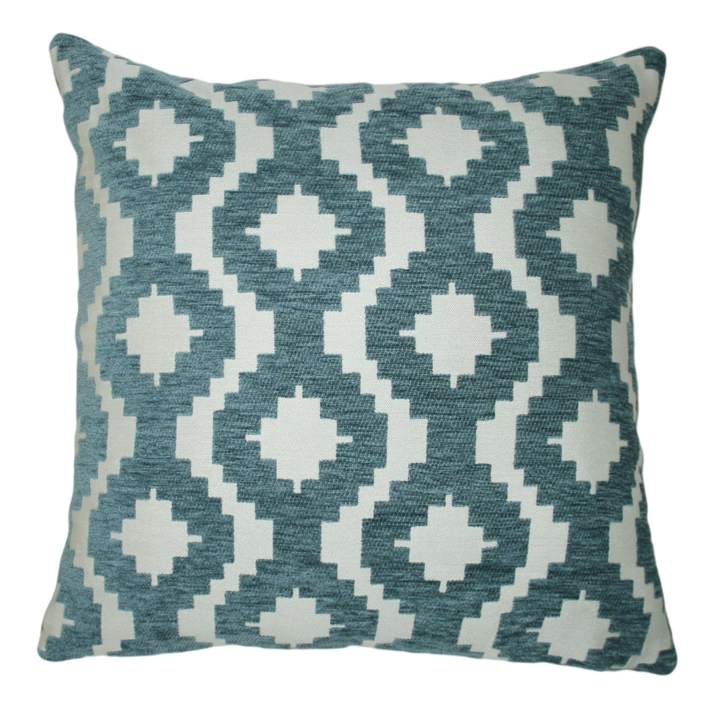 McAlister Textiles Arizona Geometric Wedgewood Blue Pillow Pillow Cover Only 43cm x 43cm