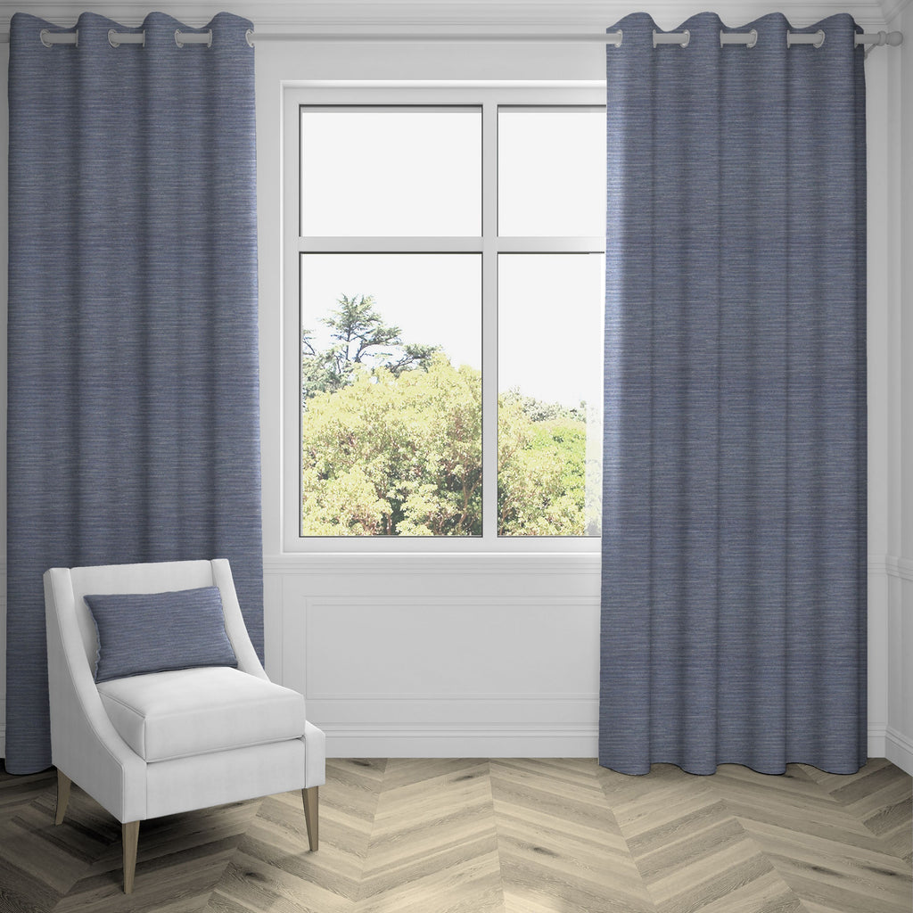 "McAlister Textiles Hamleton Navy Blue Textured Plain Curtains Tailored Curtains 116cm(w) x 137cm(d) (46"" x 54"")"