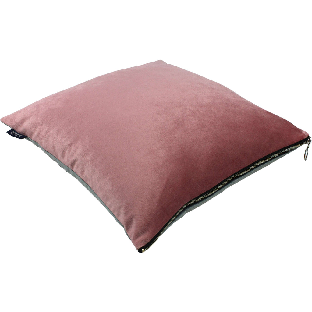 McAlister Textiles Decorative Zipper Edge Pink + Grey Velvet Cushion Cushions and Covers Cover Only 43cm x 43cm