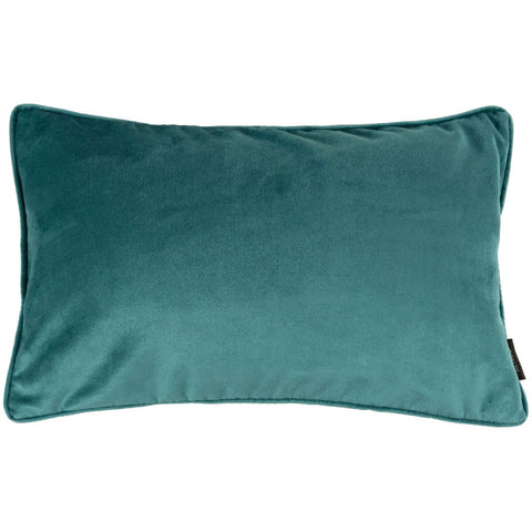 McAlister Textiles Matt Velvet Boudoir Cushion - Plain Teal Blue Green-Cushions and Covers-