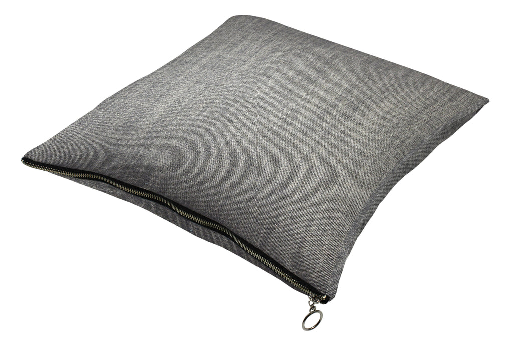 McAlister Textiles Rhumba Zipper Edge Charcoal Grey Linen Cushion Cushions and Covers Cover Only 43cm x 43cm