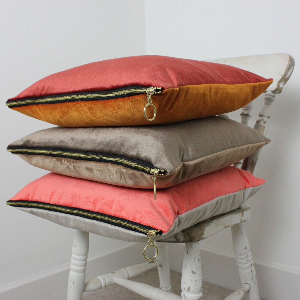 McAlister Textiles Decorative Zipper Edge Coral + Beige Velvet Cushion Cushions and Covers Cover Only 43cm x 43cm