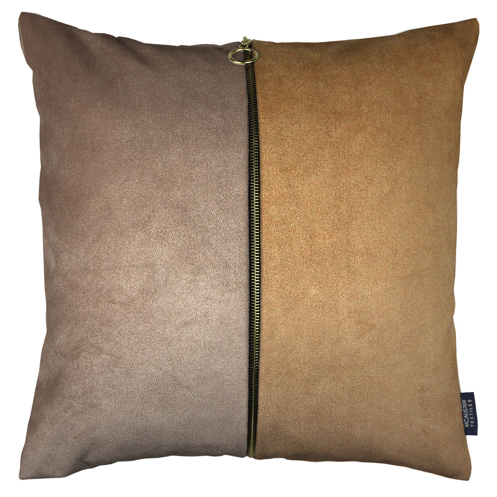 McAlister Textiles Decorative Zip Caramel + Brown Velvet Cushion Cushions and Covers Cover Only 43cm x 43cm
