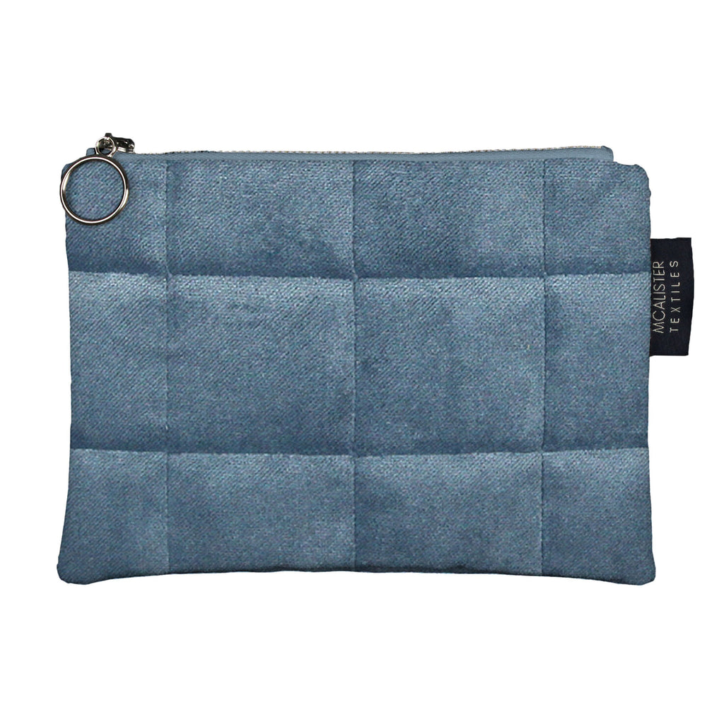 McAlister Textiles Square Pattern Blue Velvet Makeup Bag Clutch Bag