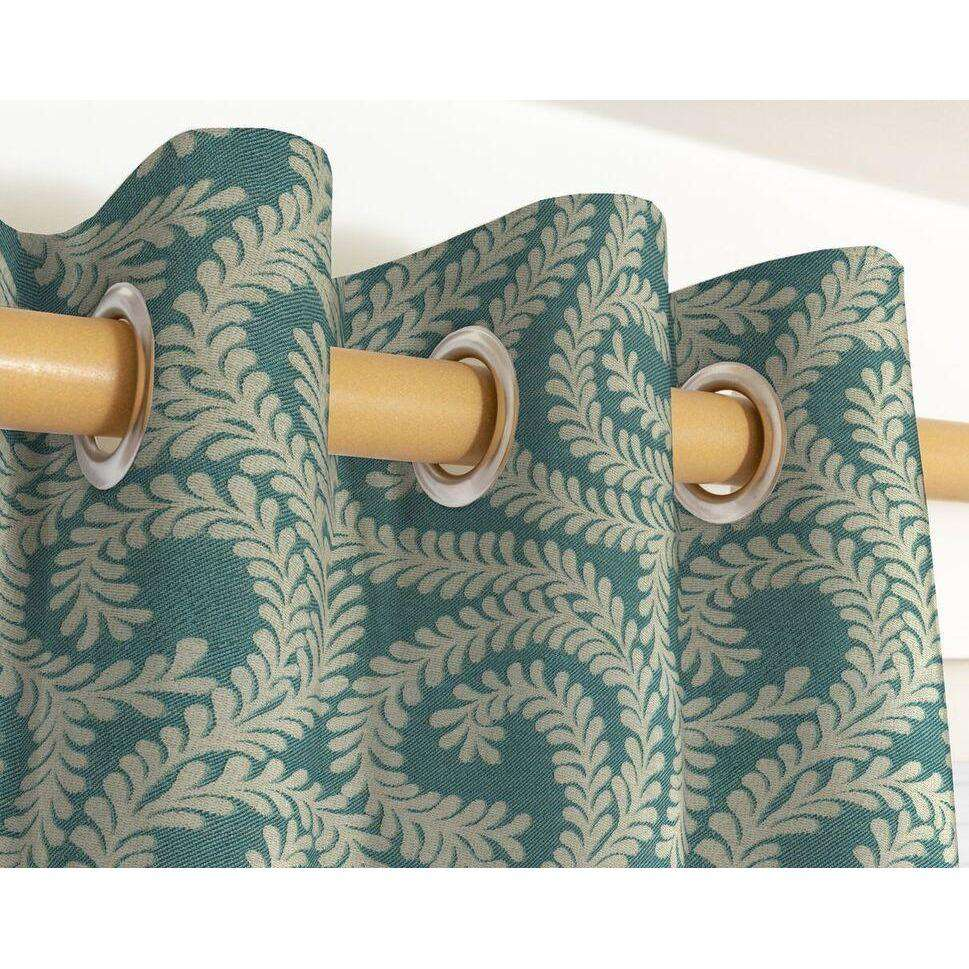 McAlister Textiles Little Leaf Teal Curtains Tailored Curtains