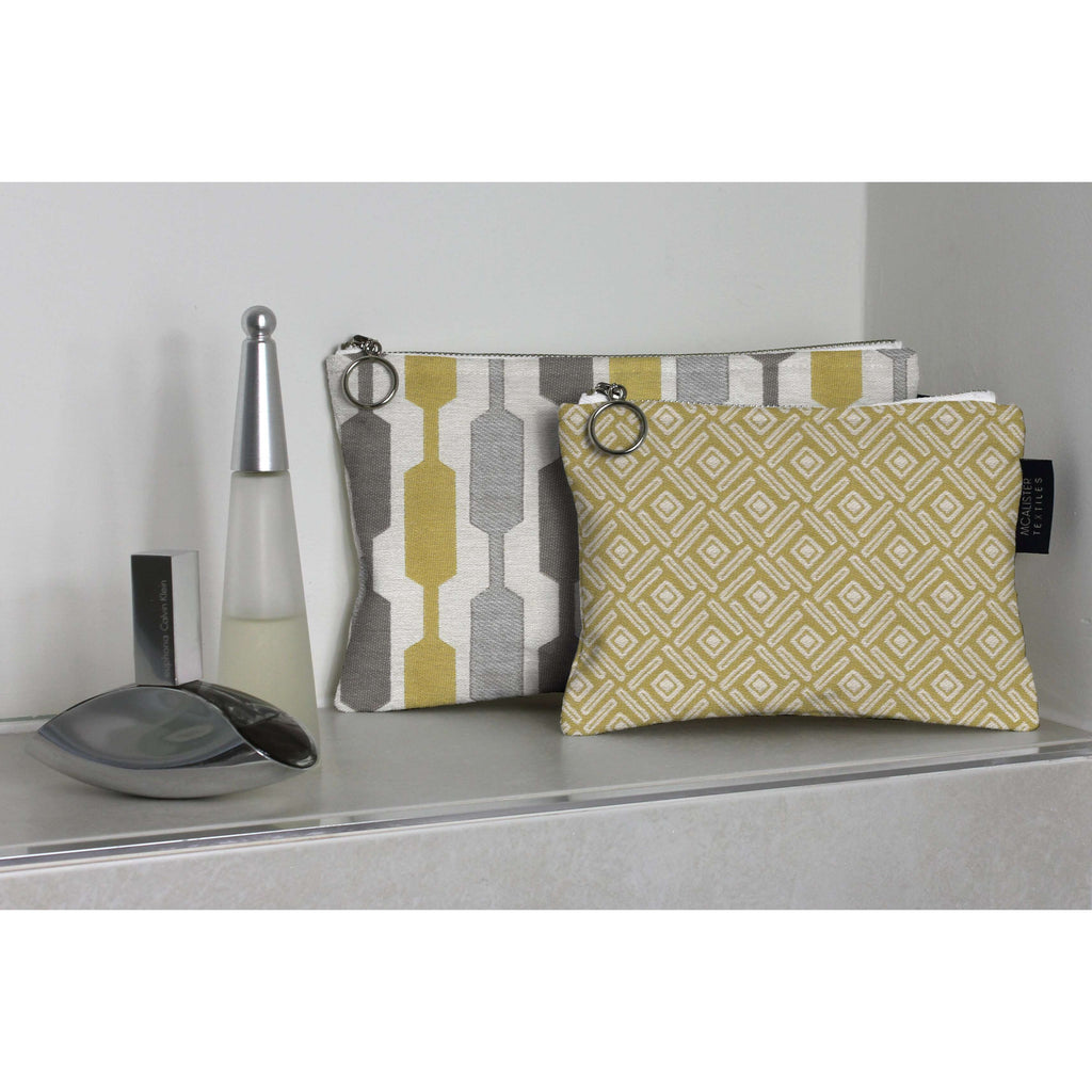 McAlister Textiles Elva Ochre + Grey Makeup Bag Set Clutch Bag