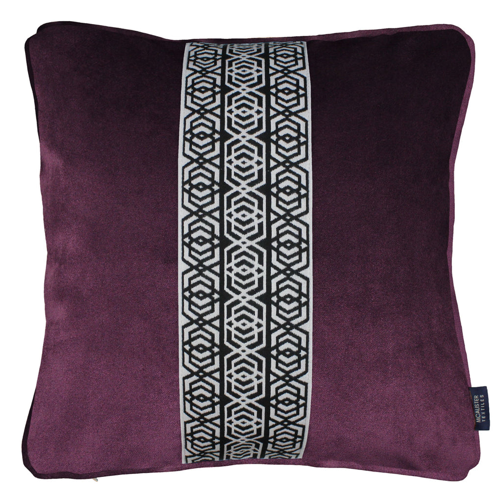 McAlister Textiles Coba Striped Aubergine Purple Velvet Pillow Pillow Cover Only 43cm x 43cm