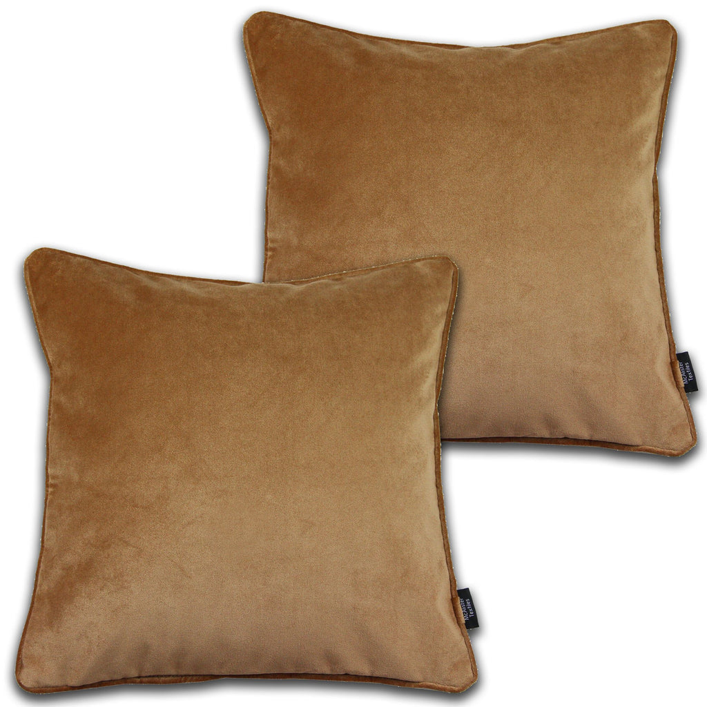 McAlister Textiles Matt Caramel Gold Velvet 43cm x 43cm Cushion Sets Cushions and Covers Cushion Covers Set of 2