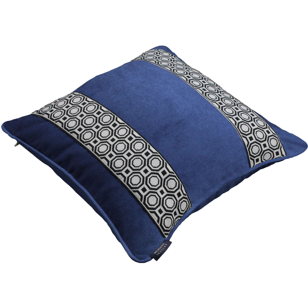 McAlister Textiles Cancun Striped Navy Blue Velvet Pillow Pillow