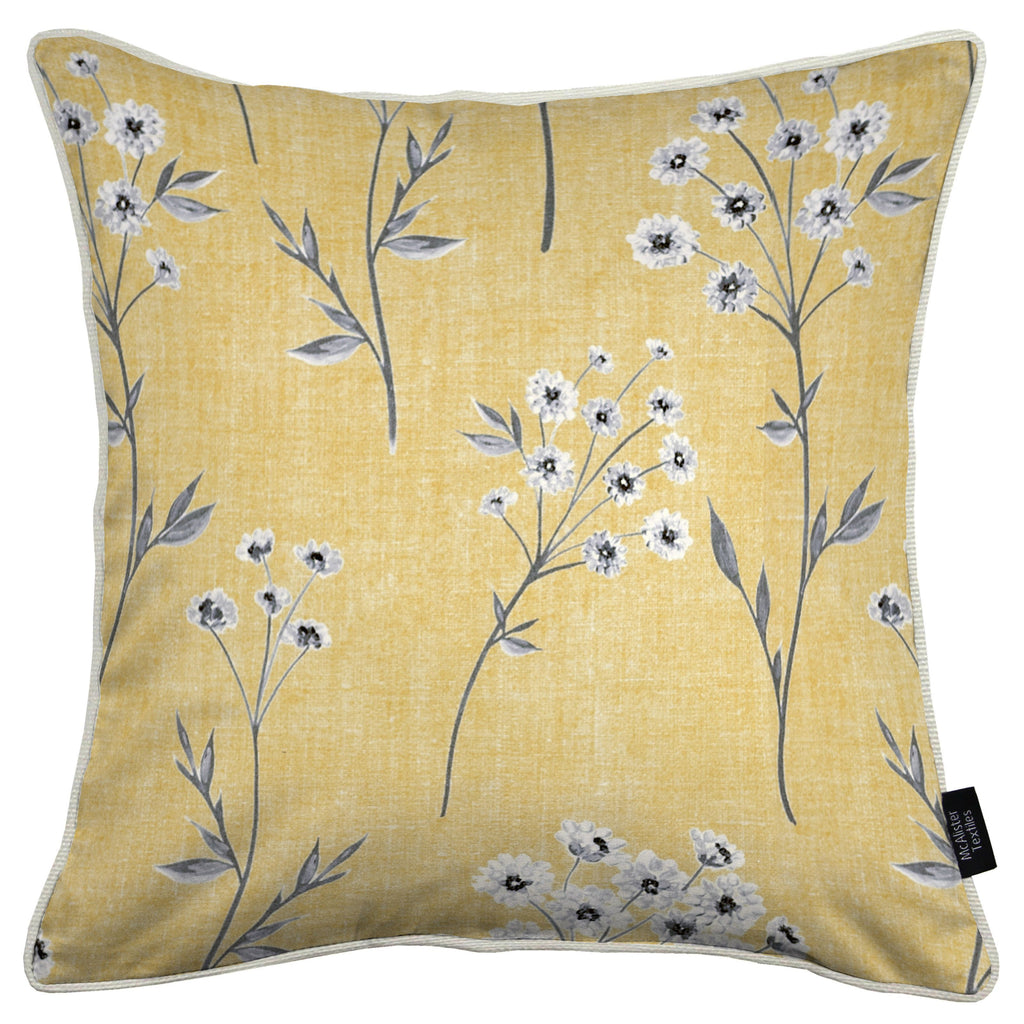 McAlister Textiles Meadow Yellow Floral Cotton Print Cushions Cushions and Covers Cover Only 43cm x 43cm