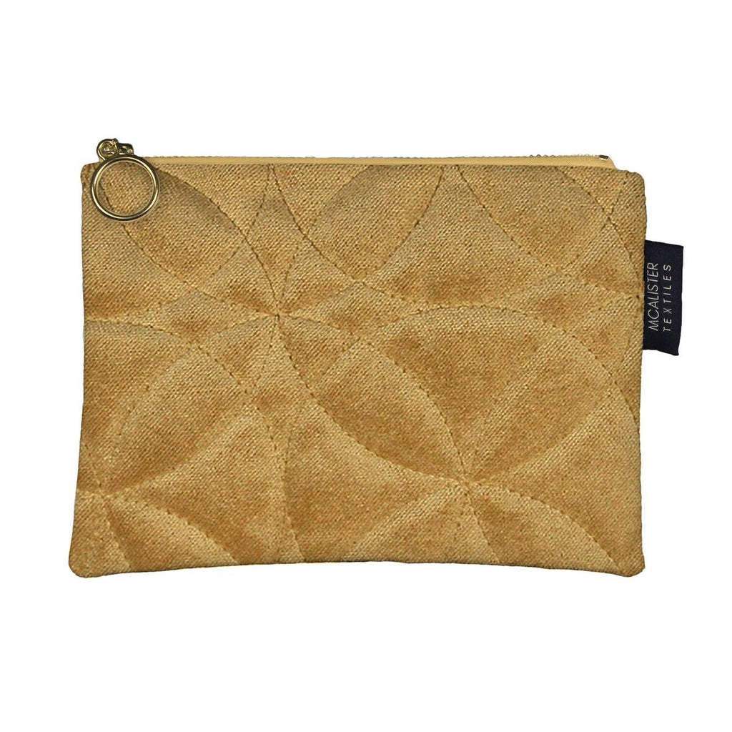 McAlister Textiles Circular Pattern Yellow Velvet Makeup Bag Clutch Bag