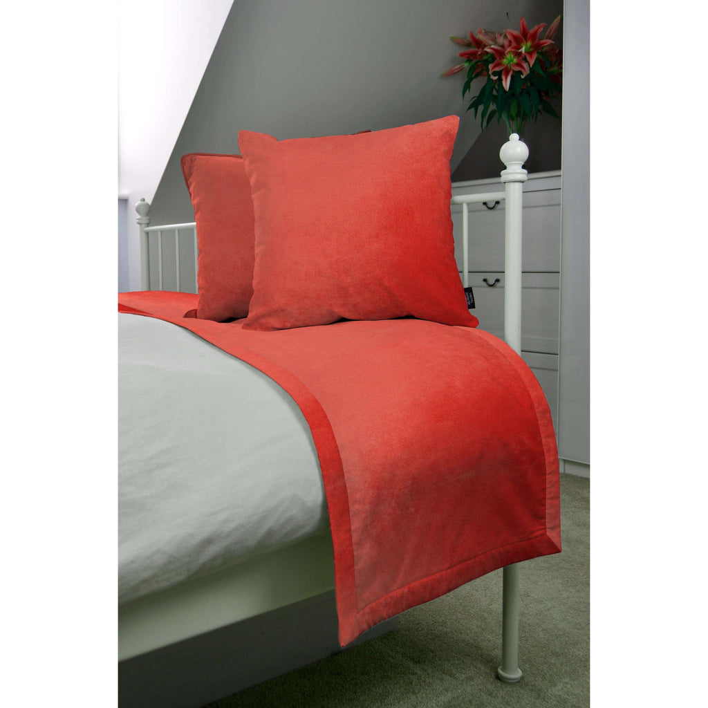 McAlister Textiles Matt Coral Pink Velvet Bedding Set Bedding Set Runner (50x240cm) + 2x Cushion Covers