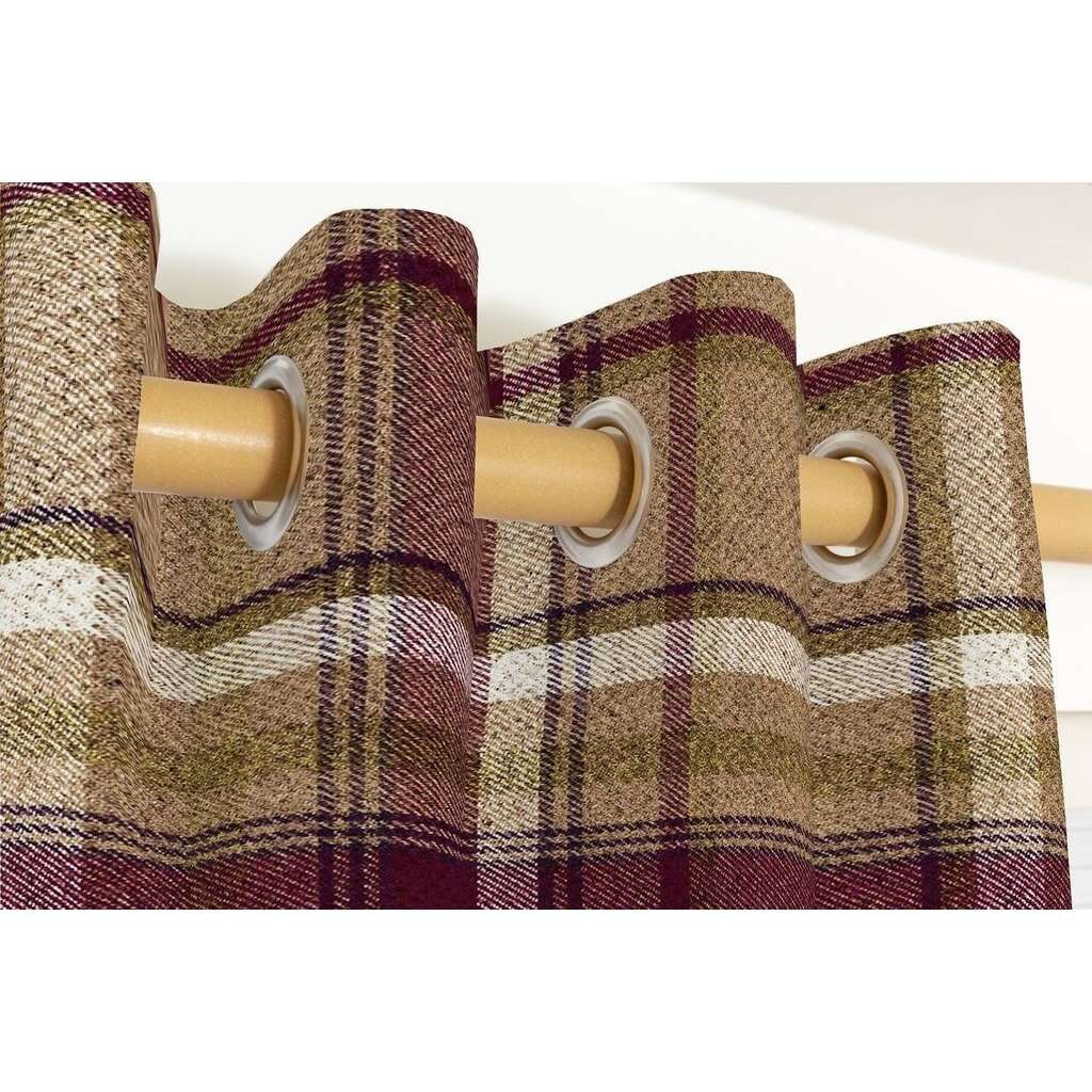 McAlister Textiles Heritage Purple + Green Tartan Curtains Tailored Curtains