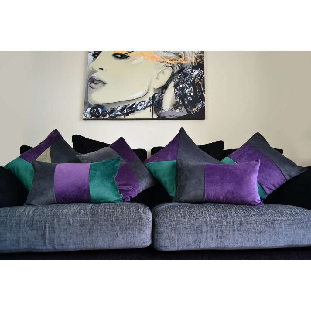 McAlister Textiles Triangle Patchwork Velvet Purple, Green + Grey Cushion Cushions and Covers